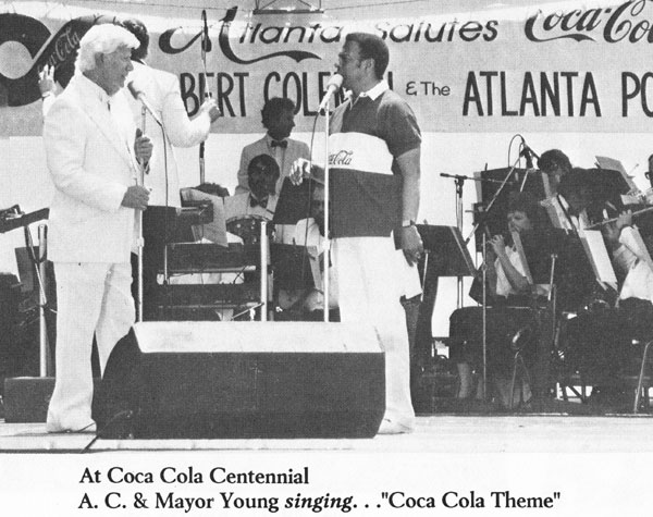 Albert Coleman and Mayor Young singing the Coca-Cola theme at the Coke Centennial - 1986
