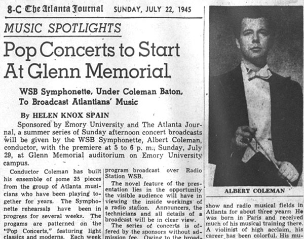 The Atlanta Journal reports on the first Atlanta Pops concert - 1945