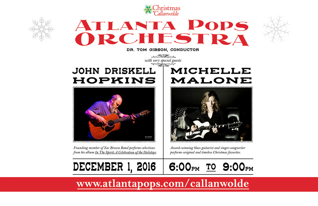 Atlanta Pops Orchestra at the Christmas at Callanwolde Holiday Gala, Thursday, December 1, 2016. Order your tickets today!